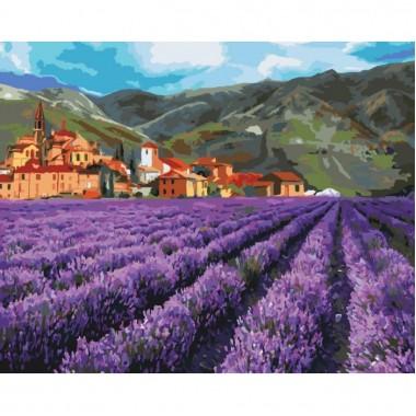 Картина за номерами ідейка Гірська лаванда 40 * 50 см пензлі + фарби в комплекті