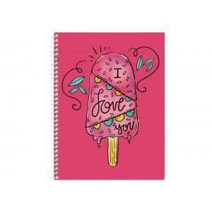 "Блокнот ""Valentine: Ice Cream"" А5 (150х200), пластиковая обложка, спираль, 80 л., Клетка"