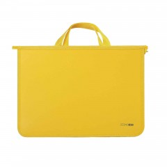 Портфель пластиковый А4 Economix на молнии, 2 отделения, желтый