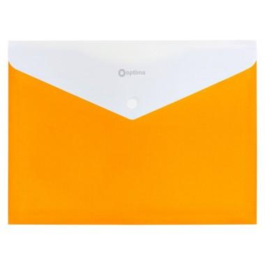 """Папка-конверт А4 непрозрачная на кнопке Optima, 180 мкм, фактура """"ПОЛОСА"""", желтая O31315-05"""