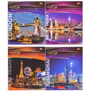 Зошит кольорова 96 аркушів, клітинка «Вечірнє місто»