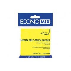Блок для заміток з клейким шаром 75х75 мм Economix, 100 л., Неон жовтий E20944-05