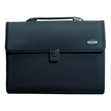 Портфель пластиковый A4 Economix на 13 отделений, черный