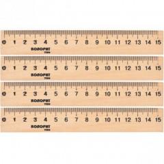 Линейка 15 см, деревянная