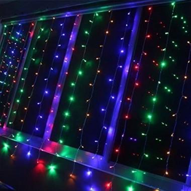 Гірлянда електрична штора 2 * 2 метра Різнокольорова 240 лампочок LED