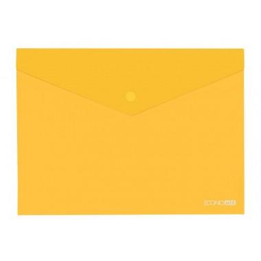 """Папка-конверт А5 прозрачная на кнопке Economix, 180 мкм, фактура """"глянец"""", желтая E31316-05"""