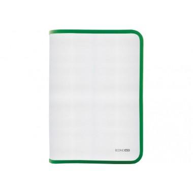 Папка-пенал пластикова на блискавці Economix, А4, прозора, фактура: тканина, блискавка зелена