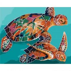 Картина за номерами ідейка Черепахи 40 * 50см пензлі + фарби в комплекті