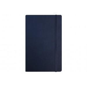Деловой блокнот А5, Vivella, твердая обложка, белый нелінований блок, темно-синий, с резинкой