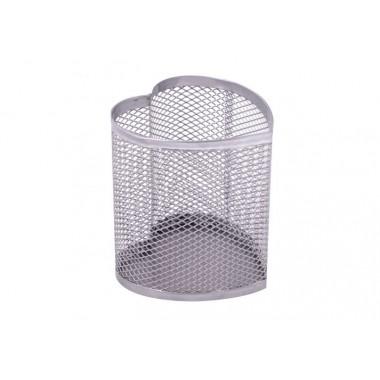 Подставка для ручек сердце Optima, 85х85х100 мм, металл сетка, серебряная