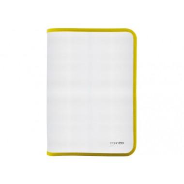 Папка-пенал пластиковая на молнии Economix, А4, прозрачная, фактура: ткань,молния желтая