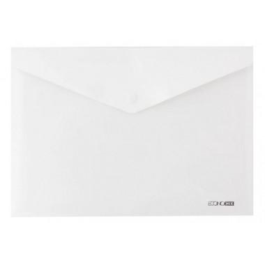 """Папка-конверт непрозрачная А4 на кнопке Economix, 180 мкм, фактура """"глянец"""", белая E31301-14"""