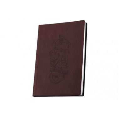 Деловой блокнот А6, тиснение, Узор, коричневый 256 стр.