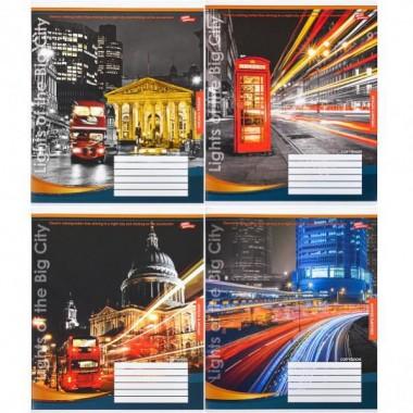 Зошит кольорова 48 аркушів, клітинка «Вогні великого міста»