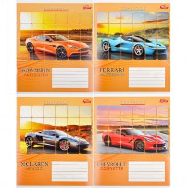 Зошит кольорова 24 арк. клітинка «Спортивні автомобілі»