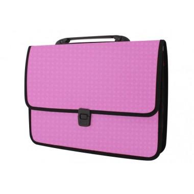Портфель на кнопке, фактура «Вышиванка», розовый E31641-09