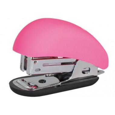 Степлер №24 / 6, 26/6 мини Optima, до 12 л, Soft Touch, пласт. корпус, розовый O40263-09