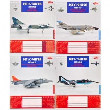 """Зошит кольорова 12 арк. коса з дод. лінією """"Військові літаки"""""""