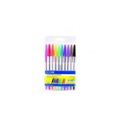 Набор шариковых ручек ECONOMIX STANDART. 10 цветов чернил, в блистере