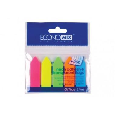 """Закладки з клейким шаром """"Стрілки"""" 12х45 мм Economix, 125 шт., 5 неонових кольорів E20946"""