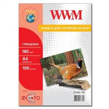 Фотопапір WWM Глянсовий 180Г/м кв, A4, 100л (G180.100)