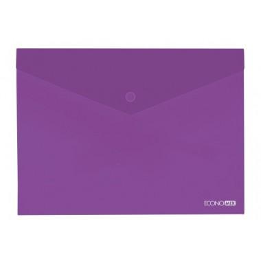 """Папка-конверт А4 прозрачная на кнопке Economix, 180 мкм, фактура """"глянец"""", фиолетовая E31301-12"""