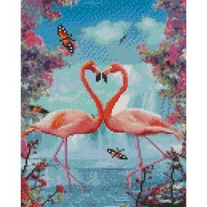 Алмазная картина HX302 Влюбленные фламинго размером 30х40 см