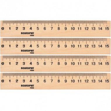 Лінійка 15 см, дерев'яна