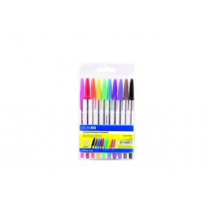 Набір кулькових ручок ECONOMIX STANDART. 10 кольорів чорнил, в блістері