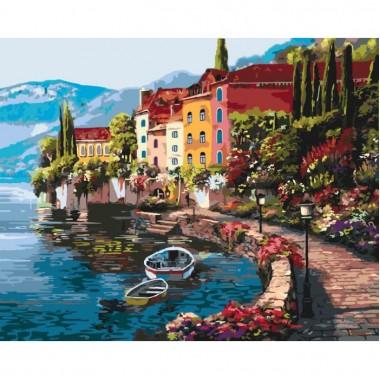 Картина за номерами ідейка Міський пейзаж Ранок на березі озера 2 40 * 50 см пензлі + фарби в комплекті