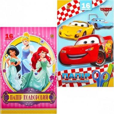 """Цветная бумага А4 16 листов """"Коленкор"""" книжкой, машинки, принцессы"""