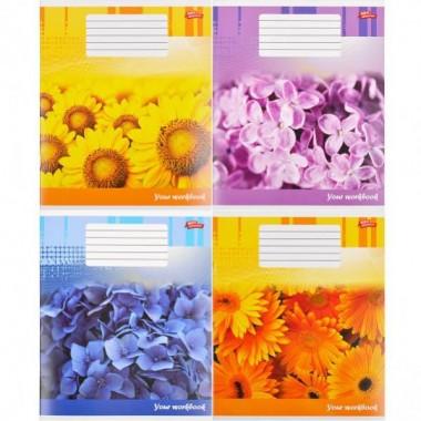 Зошит кольорова 48 аркушів, клітинка «Квіткова зошит»