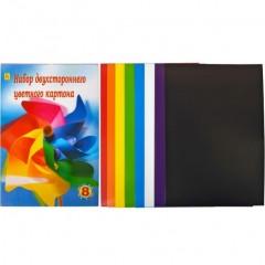Картон кольоровий,яскравий двосторонній А4 8 кольорів.
