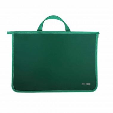 Портфель пластиковый А4 Economix на молнии, 2 отделения, зеленый