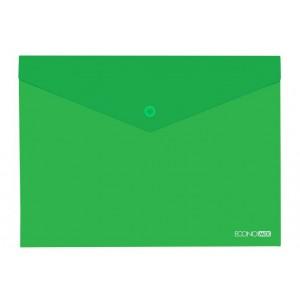 """Папка-конверт А4 прозрачная на кнопке Economix, 180 мкм, фактура """"глянец"""", зеленая E31301-04"""