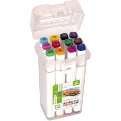 Набор скетч-маркеров 12 цветов в пластиковом боксе