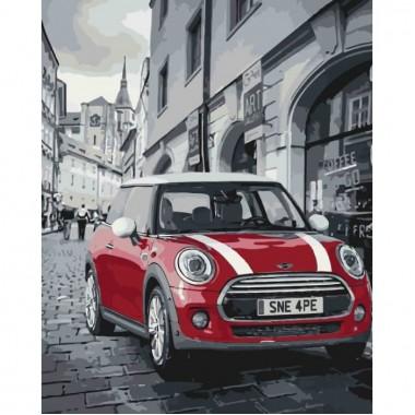 Картина за номерами Міський пейзаж  Mini Cooper  40*50см