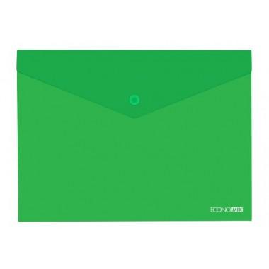 """Папка-конверт А5 прозрачная на кнопке Economix, 180 мкм, фактура """"глянец"""", зеленая E31316-04"""