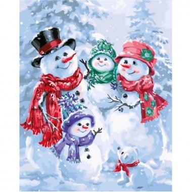 Картина по номерам Идейка Пейзаж Снеговики 40 * 50см кисти + краски в комплекте