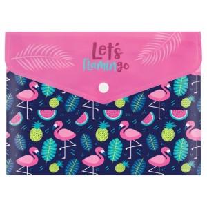 Папка-конверт А5 на кнопке Flamingo, 180 мкм