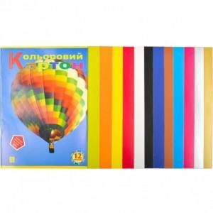 Цветной картон А4 12 листов