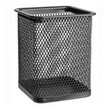 Подставка для ручек металл «Сетка-квадратная» черная 7,5 см х9,5 см