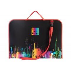 Портфель пластиковий на блискавці Colorful, А3