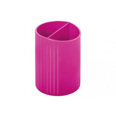 Подставка для ручек на 2 отделения, пластик, малиновая