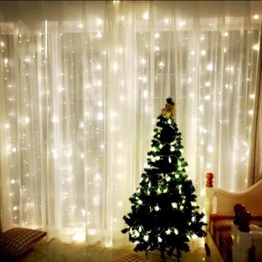 Гирлянда электрическая штора-водопад 2*2 метра теплый белый 300 лампочек LED