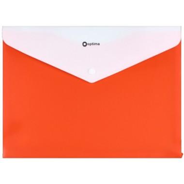 """Папка-конверт А4 непрозрачная на кнопке Optima, 180 мкм, фактура """"ПОЛОСА"""", оранжевая O31315-06"""