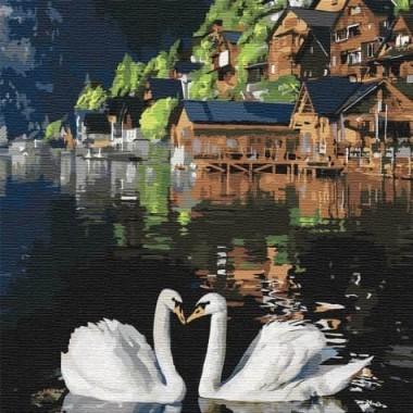 Картина за номерами  Чарівні лебеді  30*30см