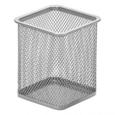 Подставка для ручек металл «Сетка-квадратная» серебр. 7,5 см х9,5 см