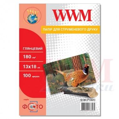Фотопапір WWM Глянсовий 180Г/м кв, 13см х 18см, 100л (G180.P100/C)