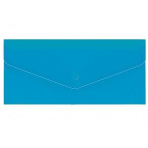 "Евроконверт Е65 прозрачный на кнопке, 180 мкм, фактура ""глянец"", синий N31306-02"